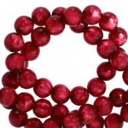 Polaris beads round 6 mm pearl shine Rubino Red