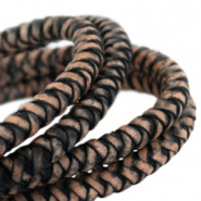 DQ round braided leather 8mm Black-vintage finish