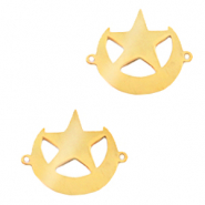 Stainless steel charms connector moon and star Gold