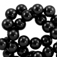 Top quality Glass pearls 6 mm Black