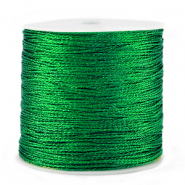 Macramé bead cord metallic 0.5mm Irish Green