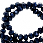 Top faceted beads 6x4mm disc Dark Blue-Pearl Shine Coating