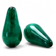 Polaris Elements drop shaped beads Mosso shiny Agate Green
