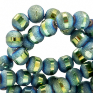 8 mm glass beads mat holographic line Dark Blue