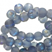 8 mm glass beads mat holographic line Blue Grey