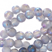 8 mm glass beads mat holographic line Grey Purple