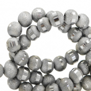 6 mm glass beads mat holographic line Grey Silver