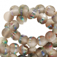6 mm glass beads mat holographic line Champagne Grey