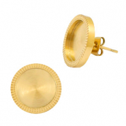 Polaris Steel earrings with setting for 12mm cabochon Gold