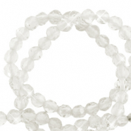 2 mm natural stone faceted beads crystal White