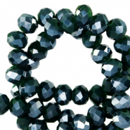 Top faceted beads 8x6mm disc Eden Green-Pearl Shine Coating