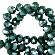 Top faceted beads 6x4mm disc Eden Green-Pearl Shine Coating