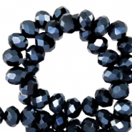 Top faceted beads 4x3mm disc Black-Pearl Shine Coating