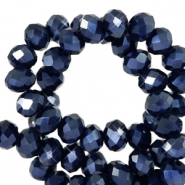 Top faceted beads 4x3mm disc Anthracite Blue-Pearl Shine Coating