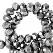 Top faceted beads 8x6mm disc Grey Metallic-Pearl Shine Coating