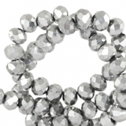 Top faceted beads 8x6mm disc Silver Metallic-Pearl Shine Coating