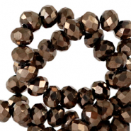 Top faceted beads 8x6mm disc Jet Brown Metallic-Pearl Shine Coating