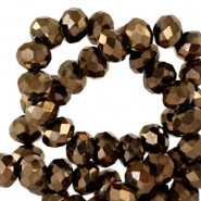 Top faceted beads 6x4mm disc Jet Brown Metallic-Pearl Shine Coating