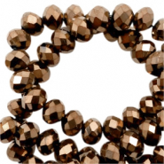 Top faceted beads 3x2mm disc Gold Metallic-Pearl Shine Coating