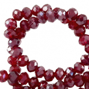 Top faceted beads 4x3mm disc Salsa Red-Pearl Shine Coating
