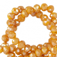 Top faceted beads 4x3mm disc Honey Golden Orange-Pearl Shine Coating