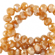 Top faceted beads 8x6mm disc Bleached Apricot Orange-Pearl Shine Coating