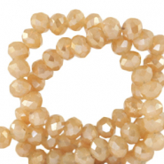 Top faceted beads 4x3mm disc Peachy Beige-Half Gold Shine Coating
