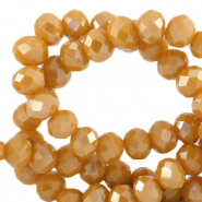Top faceted beads 8x6mm disc Ceylon Yellow-Pearl Shine Coating