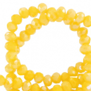 Top faceted beads 3x2mm disc Golden Glow Yellow-Pearl Shine Coating