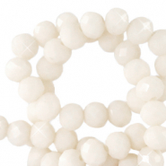 Top faceted beads 6x4mm disc Ivory White-Pearl Shine Coating