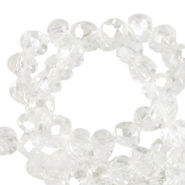 Top faceted beads 6x4mm disc Crystal-Pearl Shine Coating