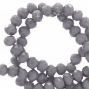 Top faceted beads 6x4mm disc Concrete Grey-Pearl Shine Coating