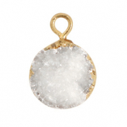 Natural stone charms crystal quartz 10mm White-Gold
