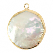 Freshwater pearls charm round Gold-Natural White