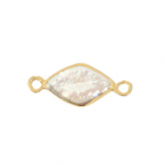 Freshwater pearls connector rhombus Gold-Natural White
