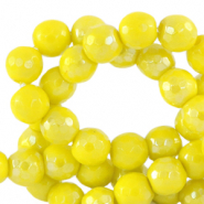 8 mm natural stone faceted beads round Ceylon Yellow-AB Coating