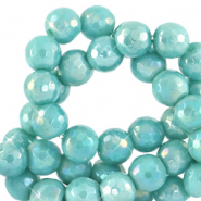 6 mm natural stone faceted beads round Canton Blue-AB Coating