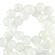 8 mm natural stone faceted beads round White-AB Coating