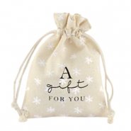 "Jewellery Linen Bag ""a gift for you"" snowflake Off White"
