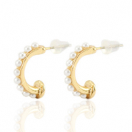 Trendy earrings pearl creole 16mm Gold-Off White