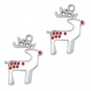 Metal charms reindeer Silver-White