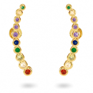 Zirconia rainbow ear cuff Gold