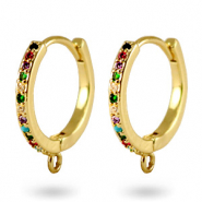 Zirconia rainbow creole earrings with loop Gold