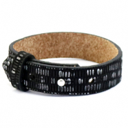 Cuoio bracelet leather croco 15 mm for 20 mm cabochon Black-Silver