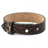 Cuoio bracelet leather croco 15 mm for 20 mm cabochon Hickory Brown-Silver
