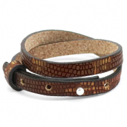 Cuoio bracelet leather croco 8 mm double for 12 mm cabochon Colonial Brown-Gold