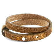 Cuoio bracelet leather croco 8 mm double for 12 mm cabochon Tobacco Brown-Gold