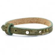 Cuoio bracelet leather croco 8 mm for 12 mm cabochon Olive Green-Silver