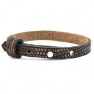 Cuoio bracelet leather croco 8 mm for 12 mm cabochon Hickory Brown-Silver
