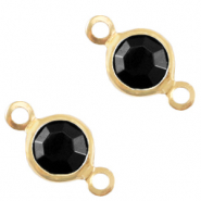 DQ European metal charms connector crystal glass round 6mm Gold-Jet Black Opaque